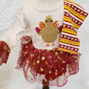 NWT [Little Lass] 2T Thanksgiving Turkey Outfit